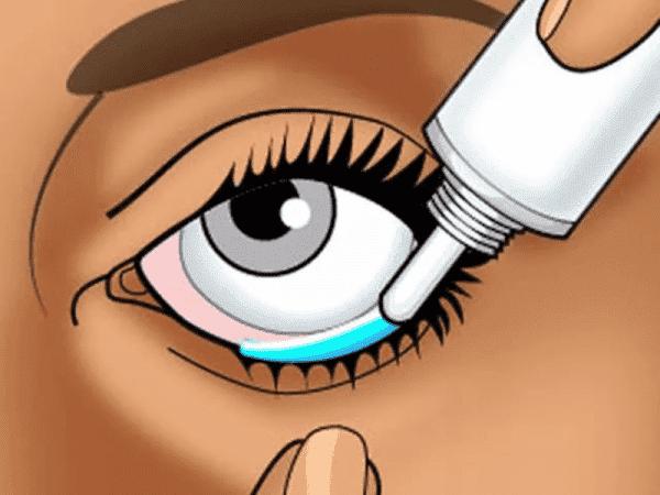 наложение мази в глаз