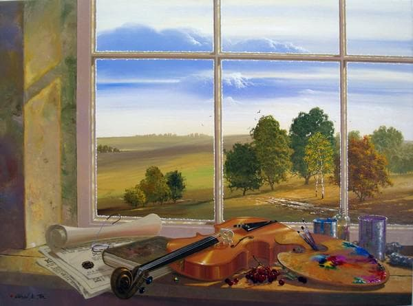взгляд на пейзаж за окном